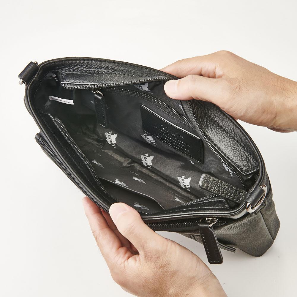 ホースレザー クラッチショルダーバッグ メイン内:オープンポケット×1、ファスナーポケット×1