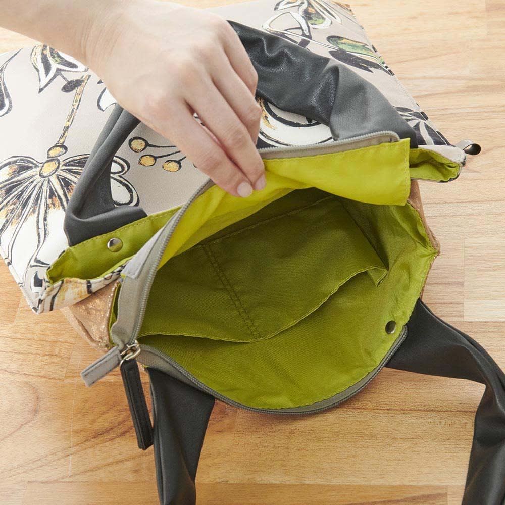 異素材コンビトートバッグ 収納袋付き (ウ)花柄