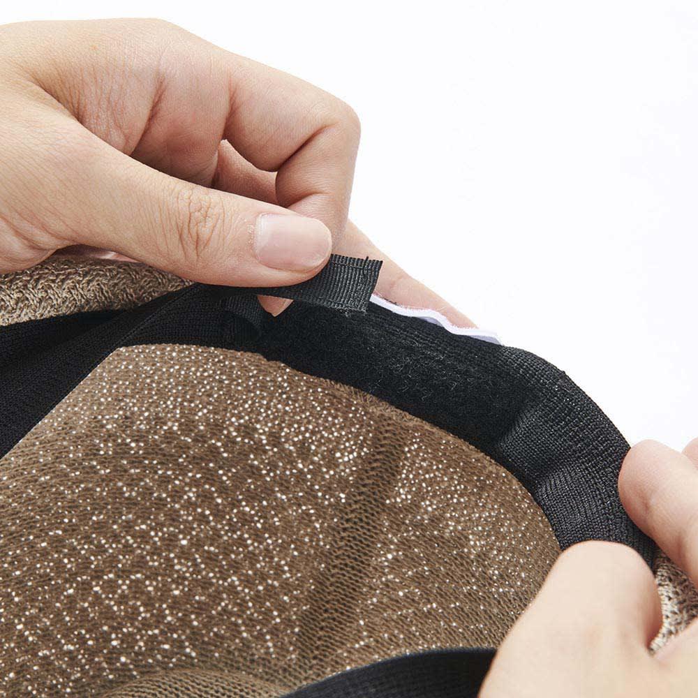 【メンズ】 ドン・ベルモード ウオッシャブルシルク使いの石目編み中折れハット 内側の面ファスナーでサイズの微調節が可能です