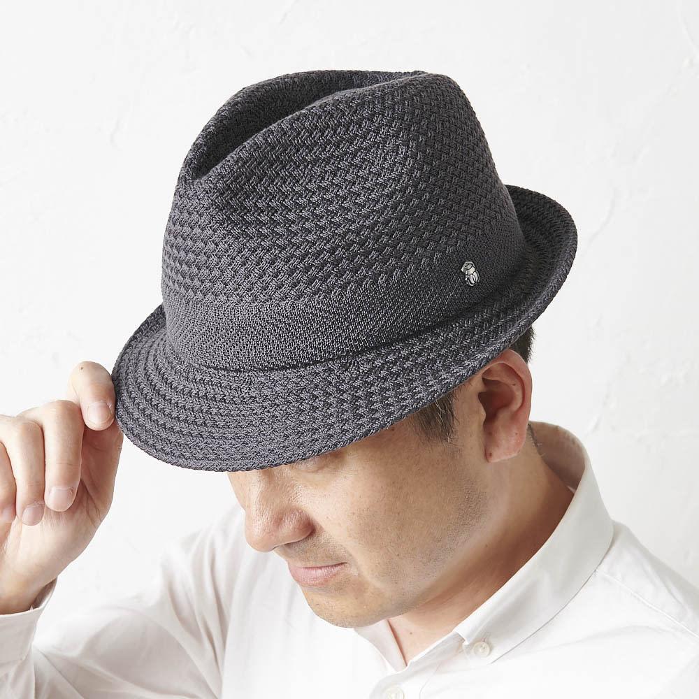 【メンズ】 ドン・ベルモード ウオッシャブルシルク使いの石目編み中折れハット (イ)チャコール 着用例