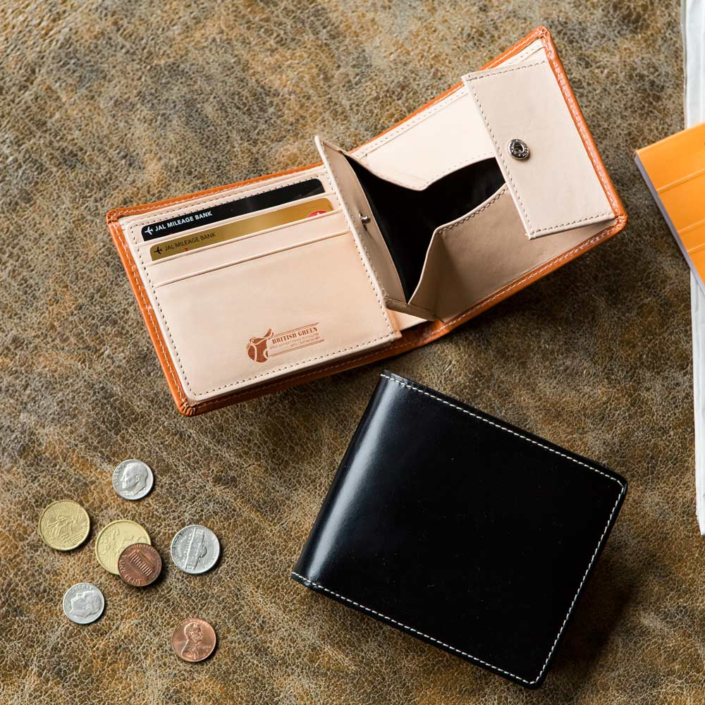 ブライドル レザー 二つ折り財布 (名入れ刻印・名入れオーダー) 【使用例】