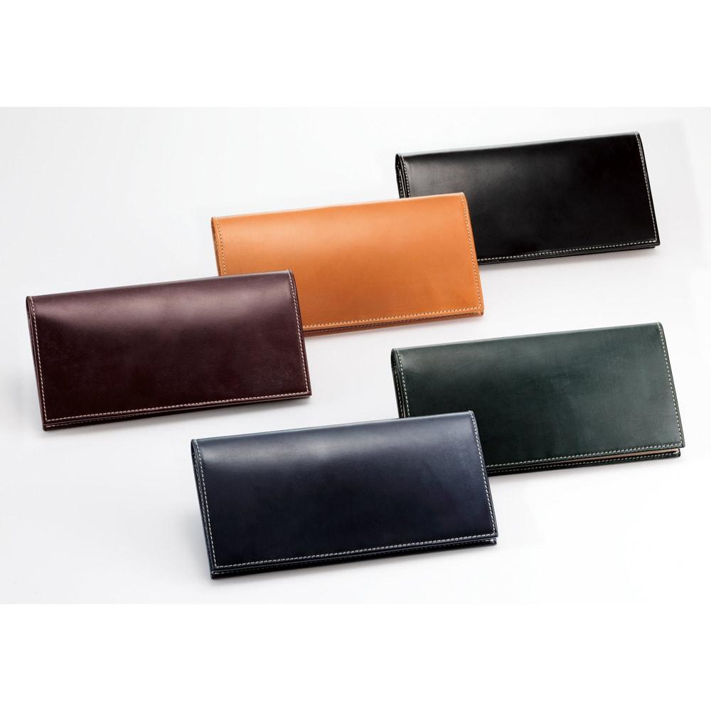 ブライドルレザー長財布 左から時計回りに(イ)バーガンディ[こげ茶]、(エ)ブラウン[キャメル色]、(ア)ブラック、(オ)グリーン、(ウ)ネイビー