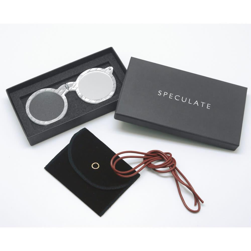 SPECULATE/スペキュレート<br />3WAYペンダントルーペ 吊り下げ用の革紐と収納ポーチ付き。化粧箱入りでプレゼントにも喜ばれます。写真は(イ)白銀(はくぎん)