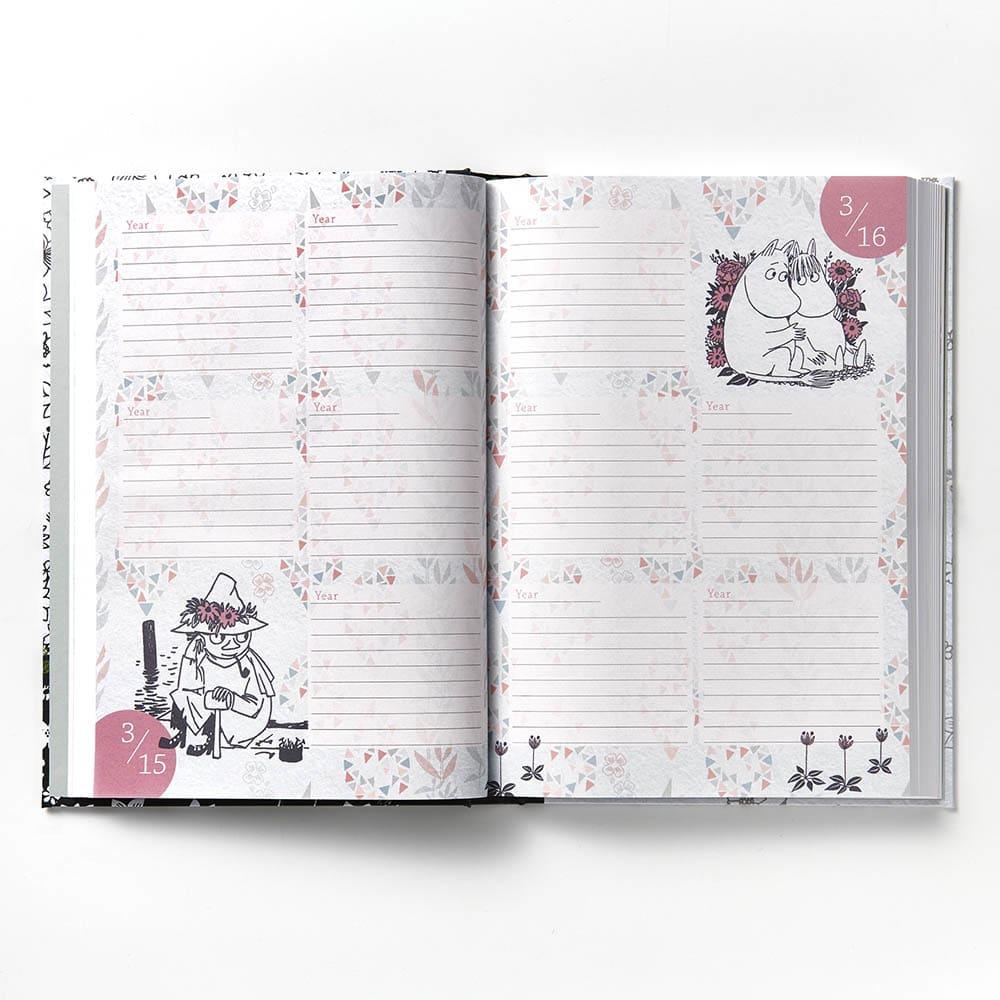 【ディノス限定販売】MOOMIN/ムーミン フルカラー5年日記(連用日記) 名入れなし 1日1ページに必ずキャラクターがいます♪