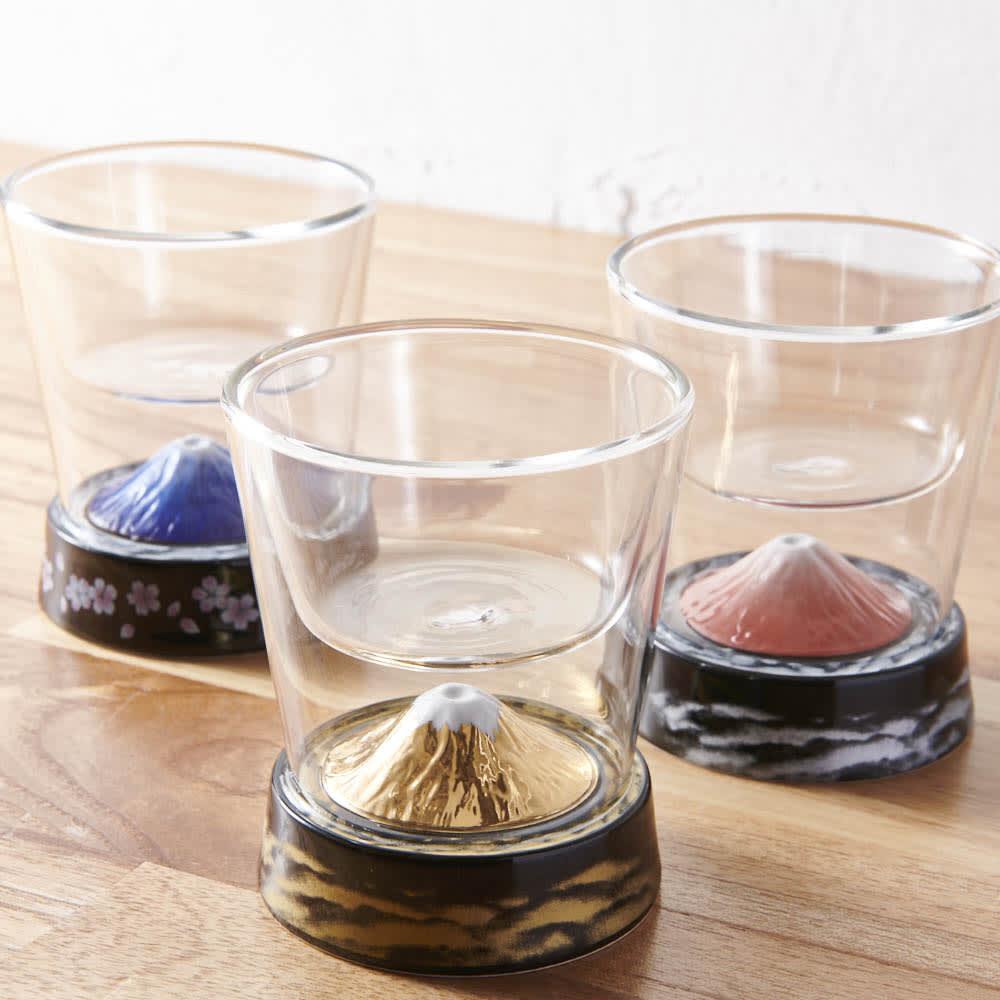 有田焼 富士グラス (金) 身近に飾っておきたくなるグラスです。奥はGF0926富士グラス(赤・青)