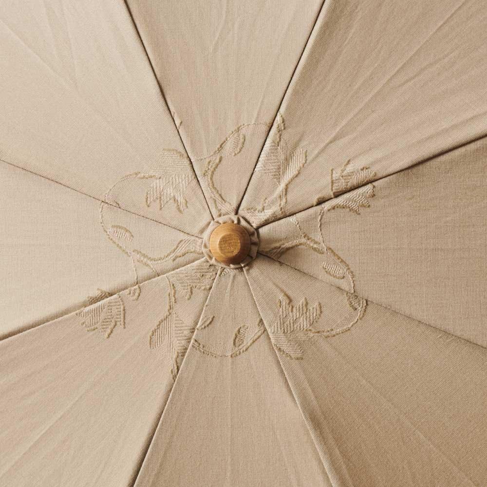 名入れ(イニシャル)オーダー 日本製カットジャカード 刺繍折りたたみ 日傘 (ア)ベージュ