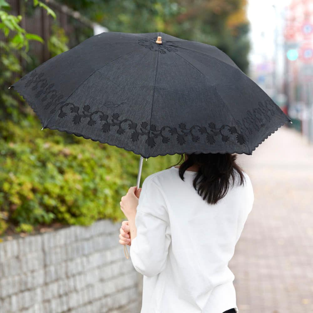 名入れ(イニシャル)オーダー 日本製カットジャカード 刺繍折りたたみ 日傘 (ウ)ブラック 使用例