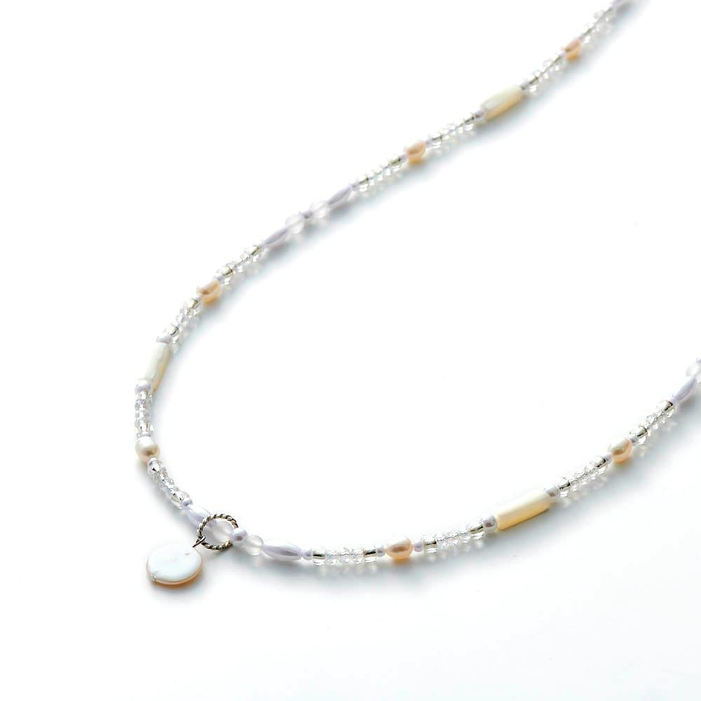 3WAY グラスホルダー&ネックレス  (イ)ホワイト系 コイン型淡水パールのペンダントヘッド付き