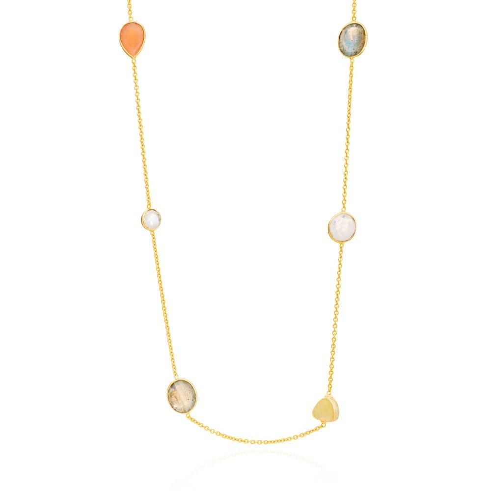 AZUNI ロングネックレス  【イギリス王室キャサリン妃着用で話題のブランド】 (ア)ゴールドオレンジ