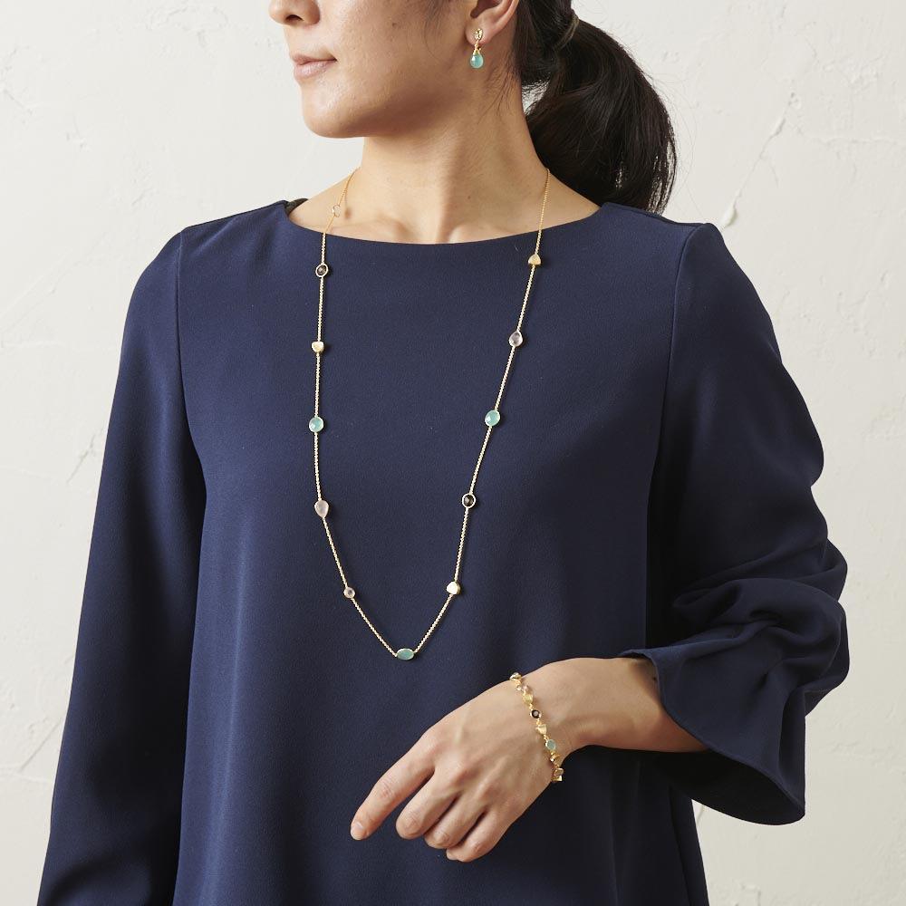 AZUNI ロングネックレス  【イギリス王室キャサリン妃着用で話題のブランド】 (ウ)ゴールドブルー