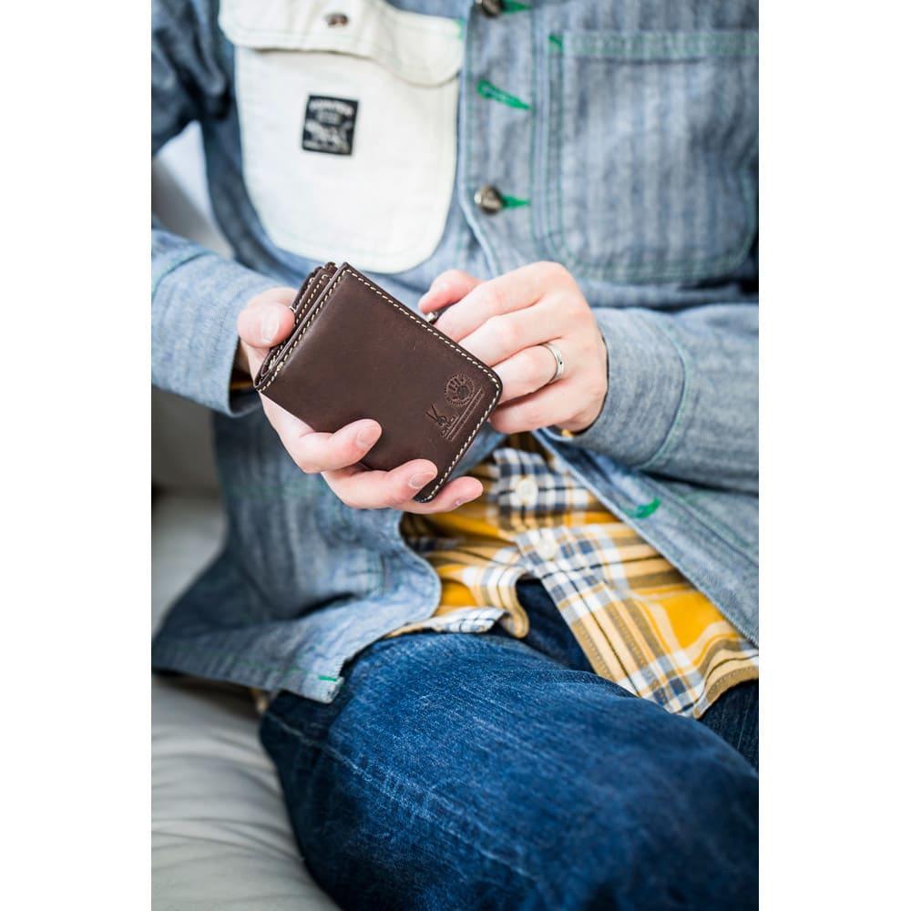 オリーチェ カード&コイン&キーケース 名入れ対応 (ウ)ダークブラウン