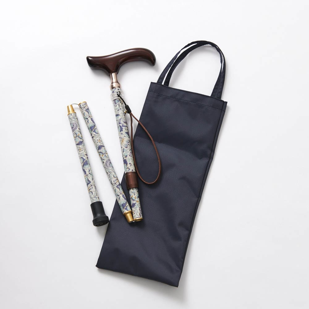 ウィリアム・モリス 日本製 握りやすい簡単折りたたみステッキ 未使用時は簡単に折りたためます。持ち運びに便利な収納バック付き