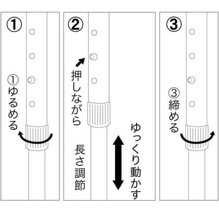イニシャル名入れオーダー ウィリアム・モリス 日本製 握りやすい簡単折りたたみステッキ 簡単に長さ調整ができます。