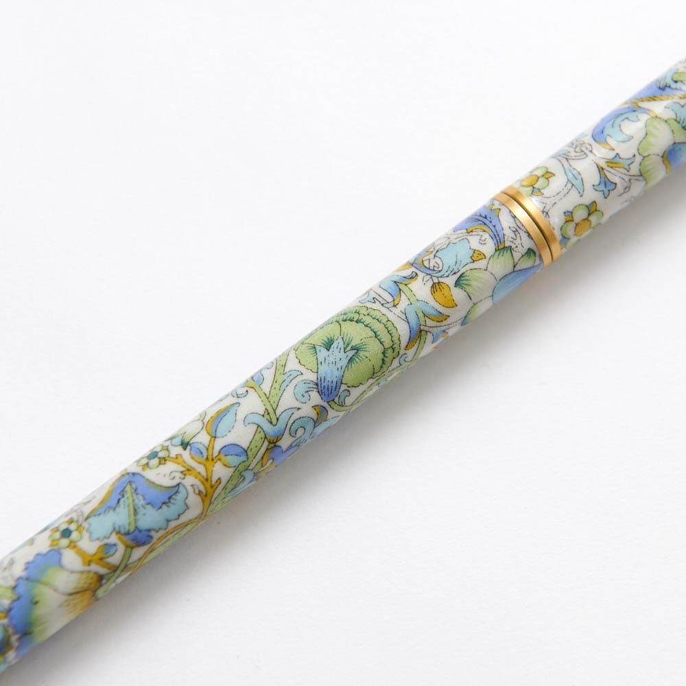 イニシャル名入れオーダー ウィリアム・モリス 日本製 握りやすい簡単折りたたみステッキ (ア)グリーン系 美しいウィリアムモリスのロデン柄。