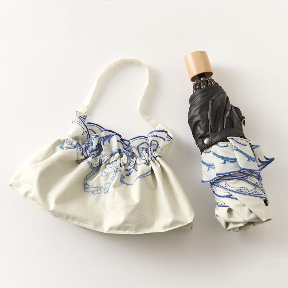 花紀行 クリスタルガラス&ペイズリー刺繍 二重張り折り畳み日傘 持ち運びに便利な収納袋付き。