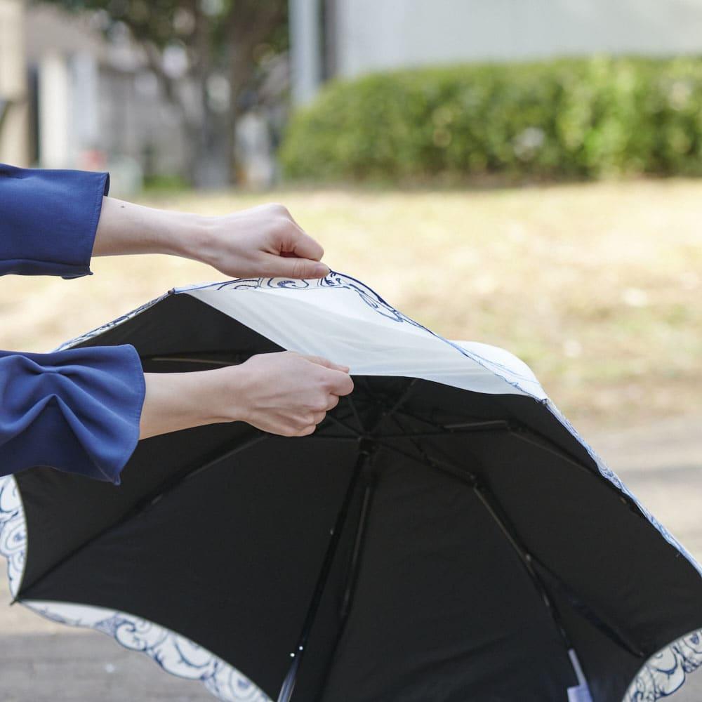 花紀行 クリスタルガラス&ペイズリー刺繍 二重張り折り畳み日傘 二重構造になっており、1級遮光、紫外線遮蔽率99.9%、遮熱機能を実現。