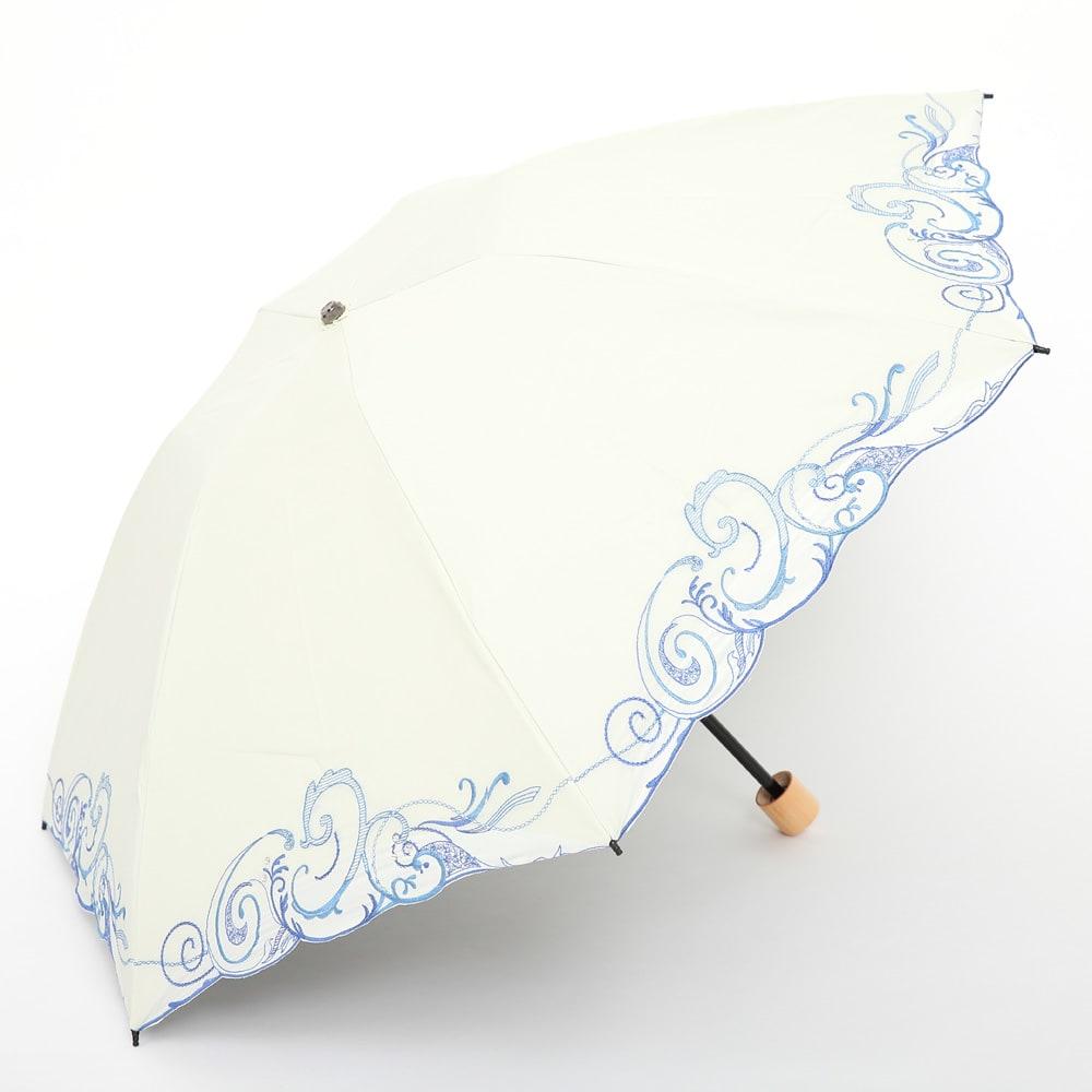 花紀行 クリスタルガラス&ペイズリー刺繍 二重張り折り畳み日傘