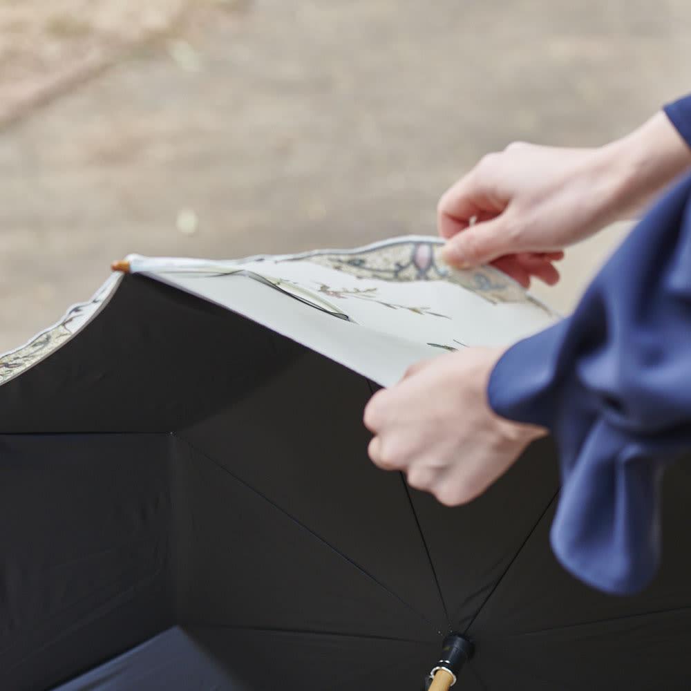 女優日傘 花鳥刺繍 長日傘 上下の生地の間に空間があることから、歩くことにより空気の流れを作り、熱のこもるのを軽減。