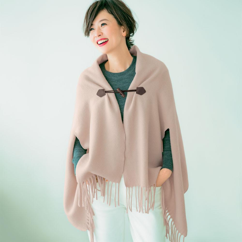 毛布屋さんが作ったespoir肌ざわりここちよいショール コーディネート例(ウ)ベージュ