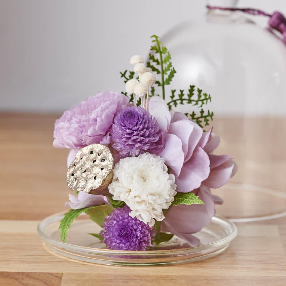 ガラスドームミニ仏花プリザーブド ドームを外して飾ることも可能です。