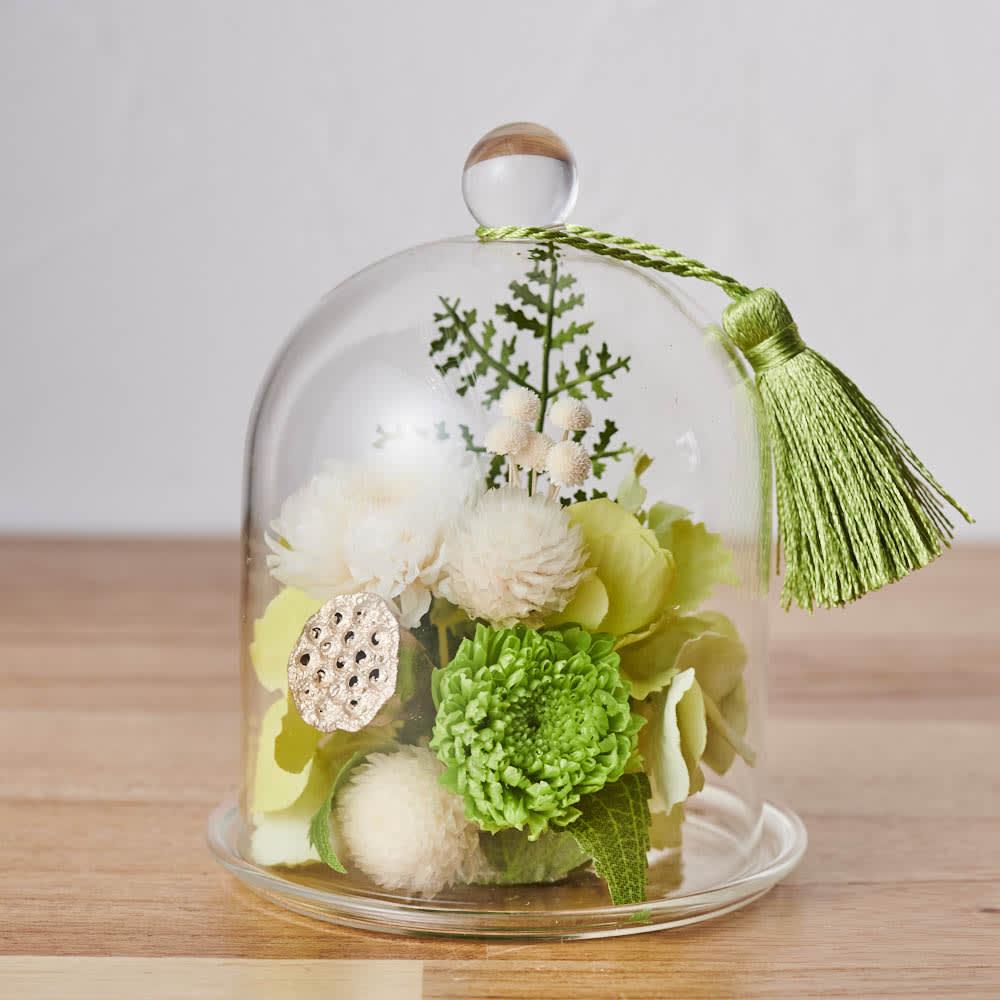 ガラスドームミニ仏花プリザーブドお線香付