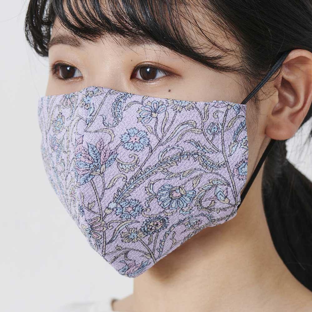 飛沫カット率99%!ボタニカル柄マスク 日本製 クレンゼ(R) (ア)パープル