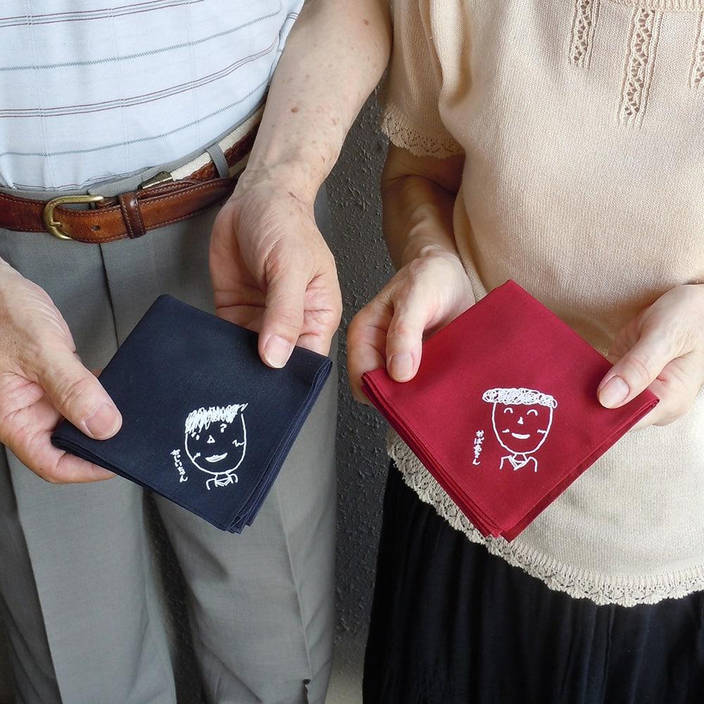 似顔絵 お仕立券 オーダーハンカチ&マグカップ おじいちゃん、おばあちゃんへの贈り物に。お孫さんのイラスト入りは何よりも嬉しいはず!