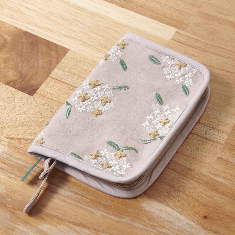 くろちく 刺繍ブックカバー 柄が選べる2個組 (ア)金木犀スモーキーピンク