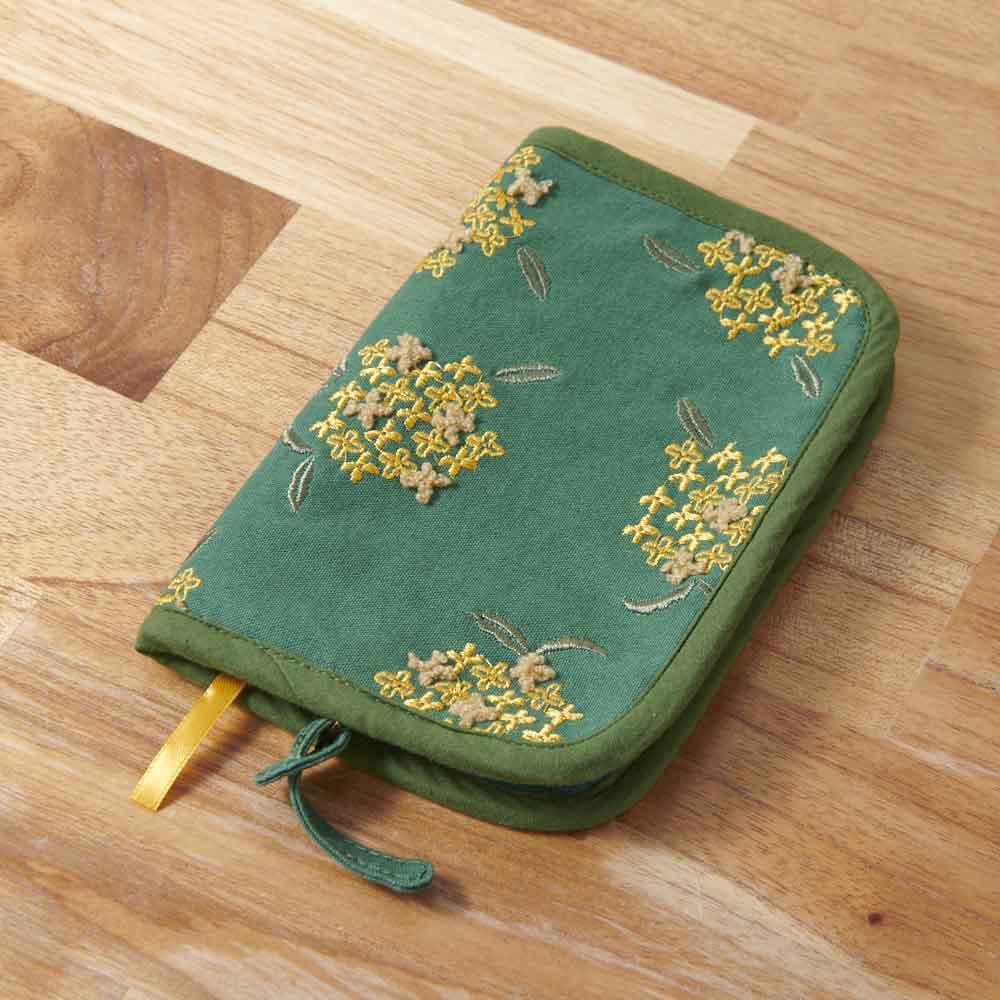 くろちく 刺繍ブックカバー 柄が選べる2個組 (イ)金木犀深緑