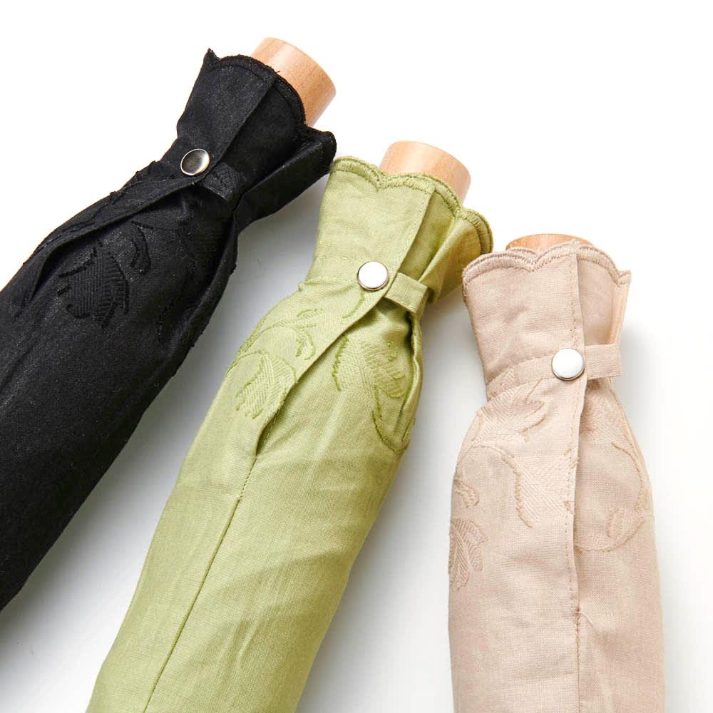 日本製 カットジャカード 刺繍折りたたみ 日傘 左から (ウ)ブラック (イ)グリーン (ア)ベージュ