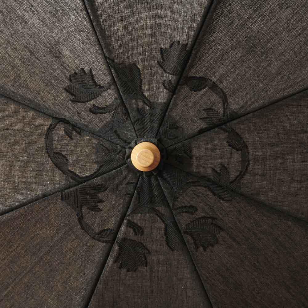 日本製 カットジャカード 刺繍折りたたみ 日傘 (ウ)ブラック