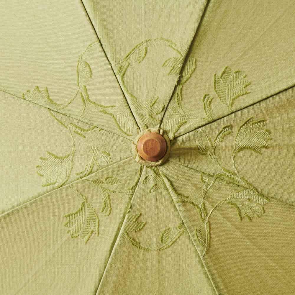 日本製 カットジャカード 刺繍折りたたみ 日傘 美しいリーフ模様 (イ)グリーン