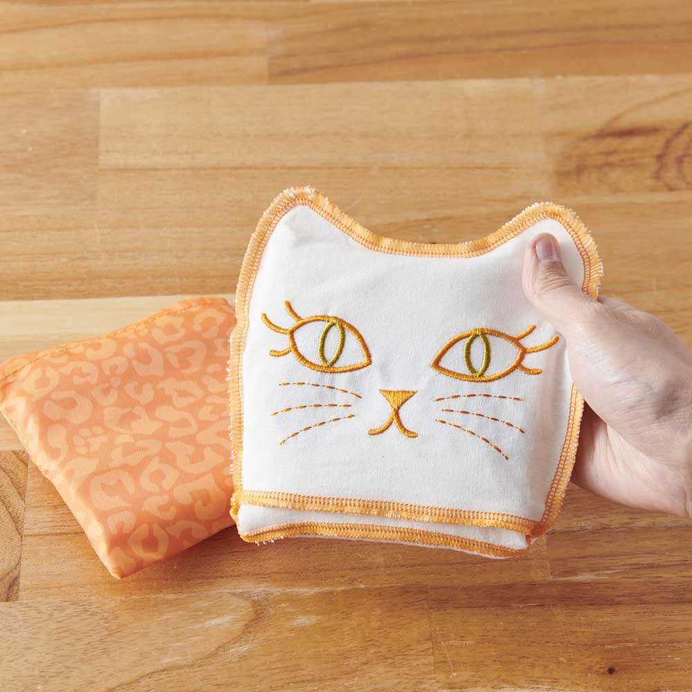 小悪魔Cat エコバッグ&オベントーバッグセット エコバッグは折りたたむと猫の顔に。