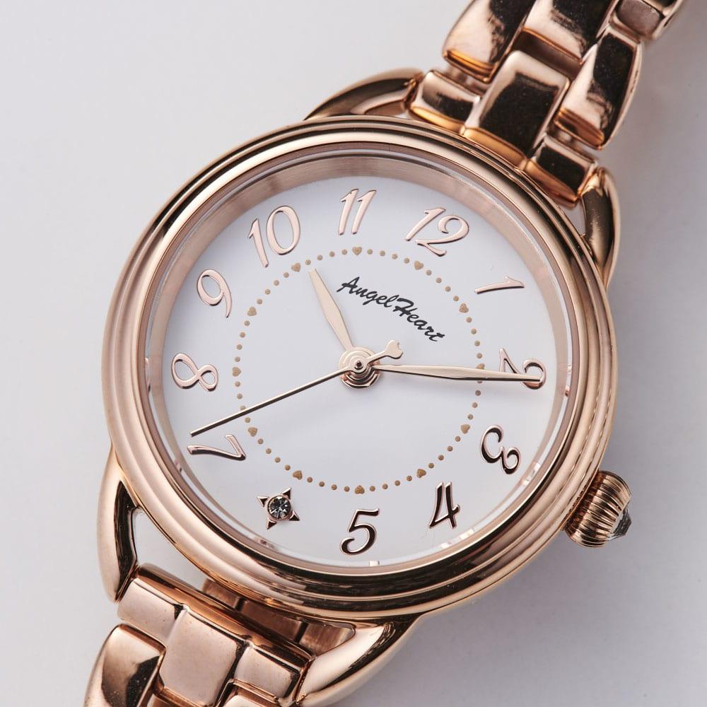 Angel Heart/エンジェルハート ファーストスター ピンクゴールド ソーラー時計 わかりやすいアラビア数字表記。