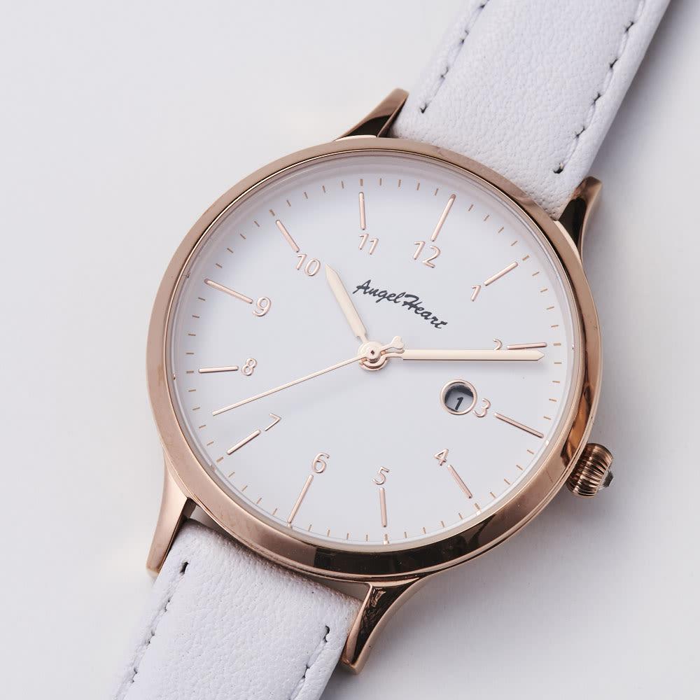 Angel Heart/エンジェルハート パステルハート ソーラー時計 (イ)ホワイト 秒針には小さいハートが。細かい部分もこだわったデザインです。