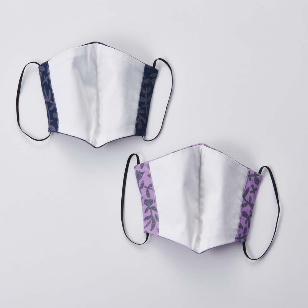日本製 北欧ボタニカル(HAVINA柄)マスク 裏面はさらっとした綿100%生地を使用。
