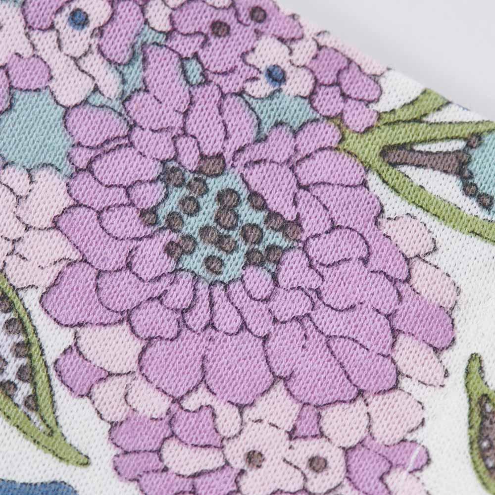 日本製 リバティプリント柄マスク (ア)ライトパープル生地アップ。繊細なリバティプリントが映える、綿100%生地。