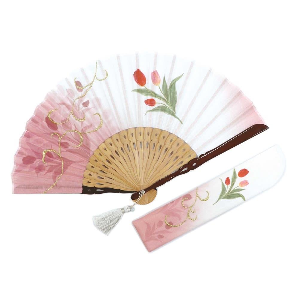 白竹堂 誕生花扇子 バースデーフラワー (ウ)3月チューリップ