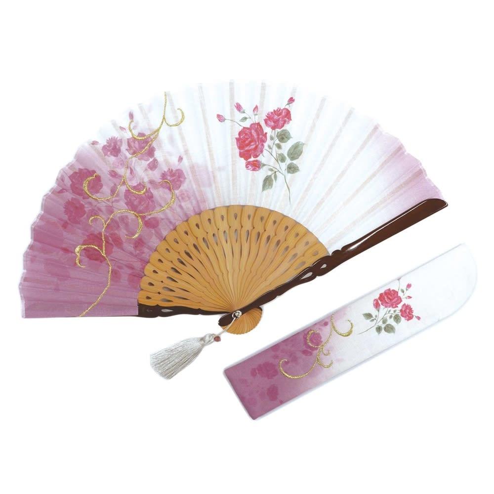 白竹堂 誕生花扇子 バースデーフラワー (キ)7月ローズ
