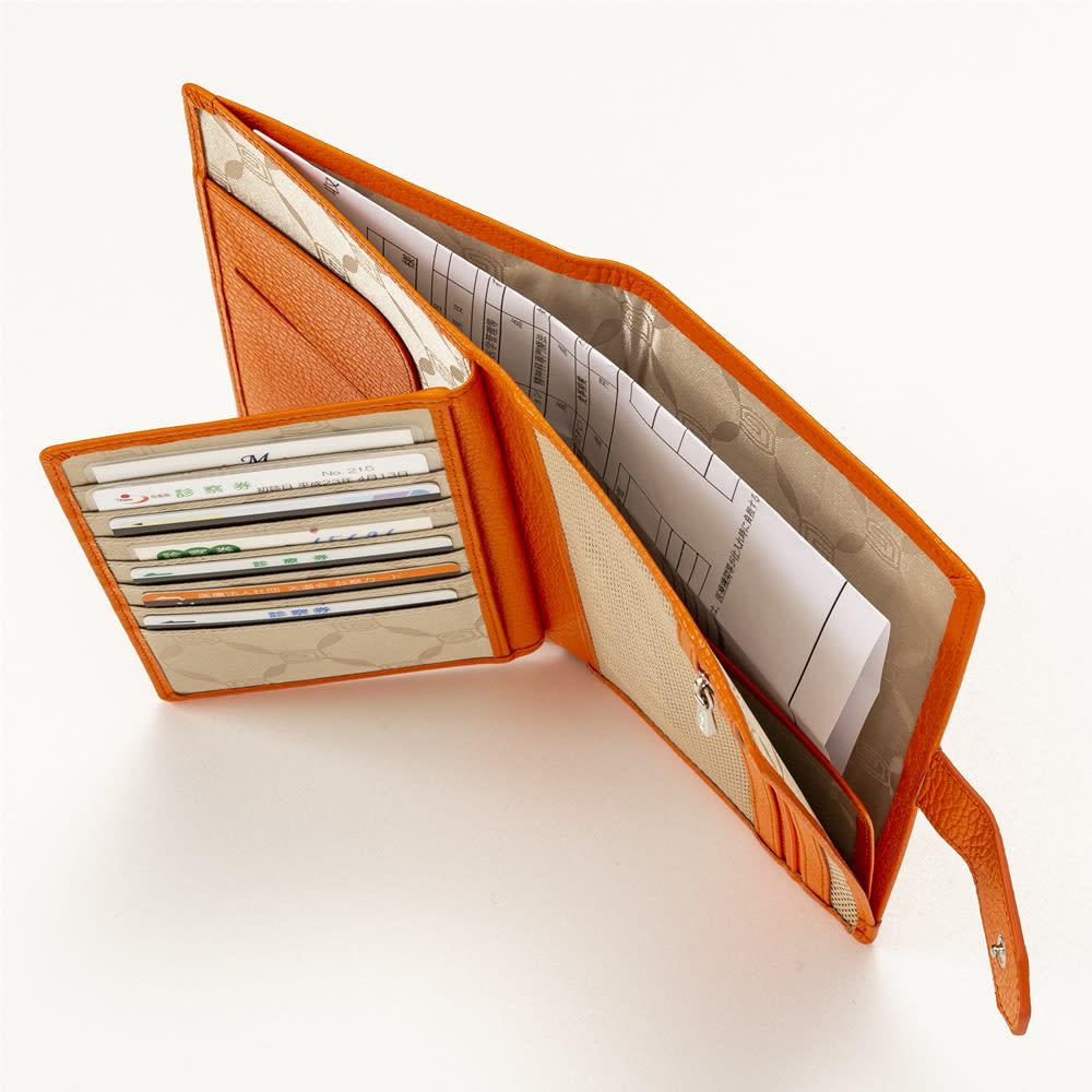 イタリア製通院用ウォレット(お薬手帳入れ) GIUDI/ジウディ A4サイズは半分に折って収納できます。
