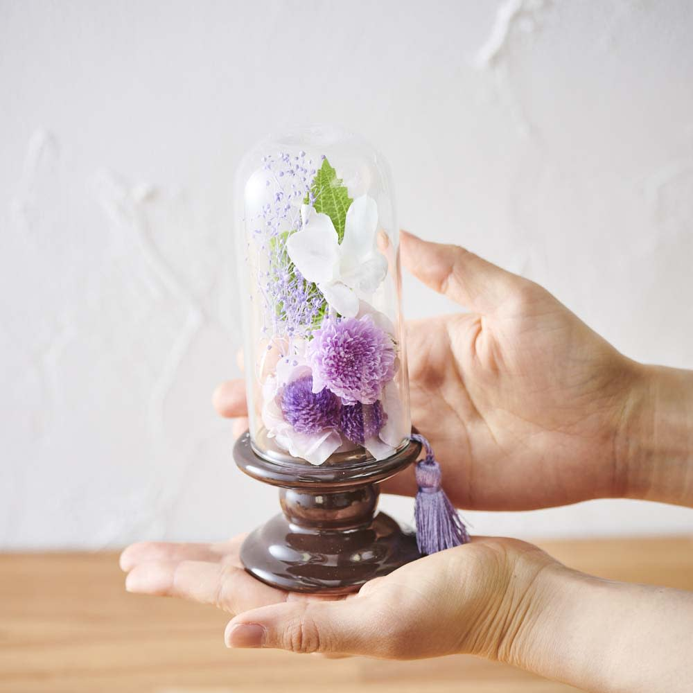 ミニガラスドーム供花 お線香付き コンパクトなサイズで置き場所を選びません。