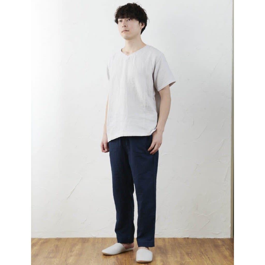 マシュマロガーゼ メンズルームウェアTシャツ 着用例。モデル身長177cm、LAサイズ着用。<br />別売りのパンツ(商品番号:GF1749)と組み合わせても。