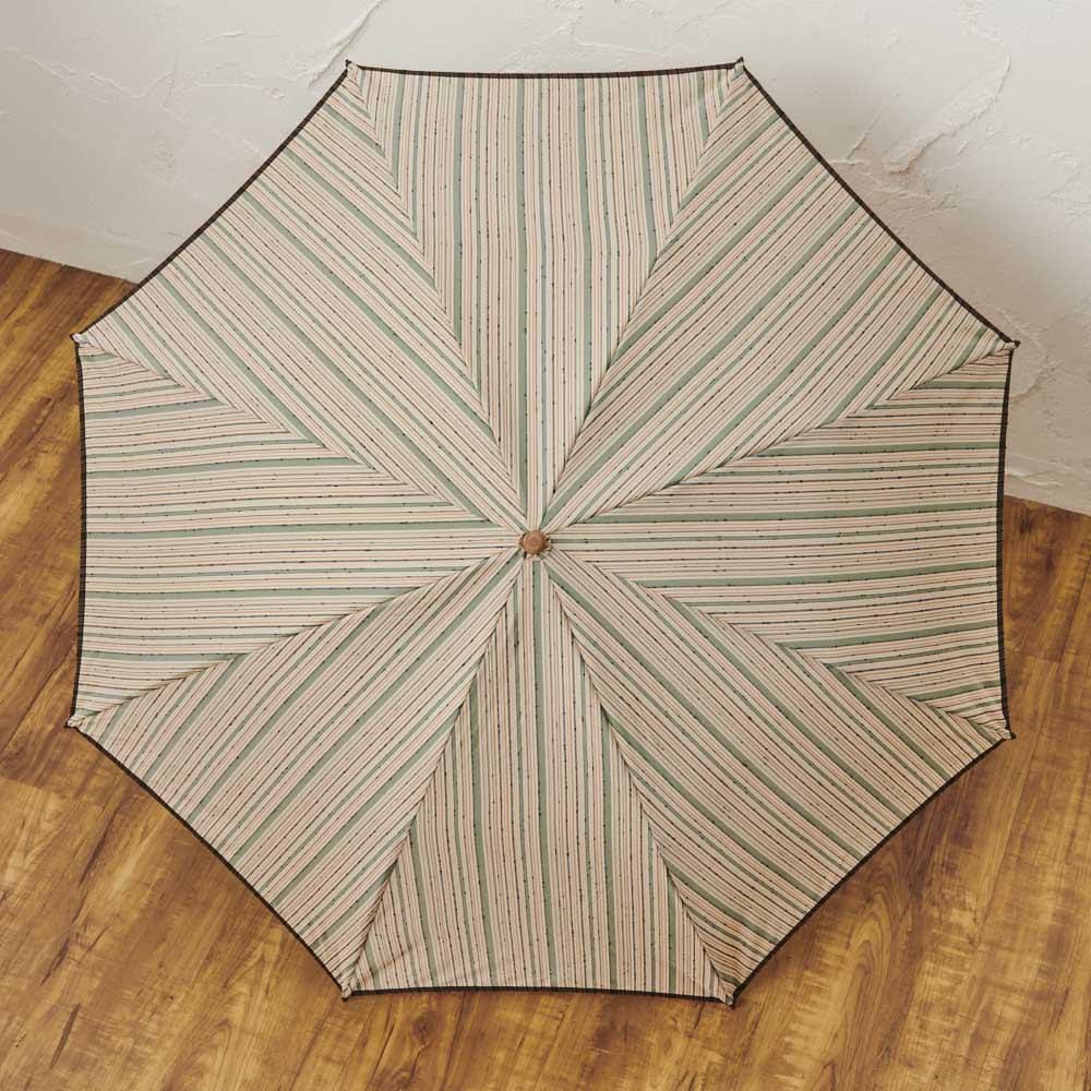 小宮商店 甲州織晴雨兼用折畳日傘 ストライプ (イ)グリーン