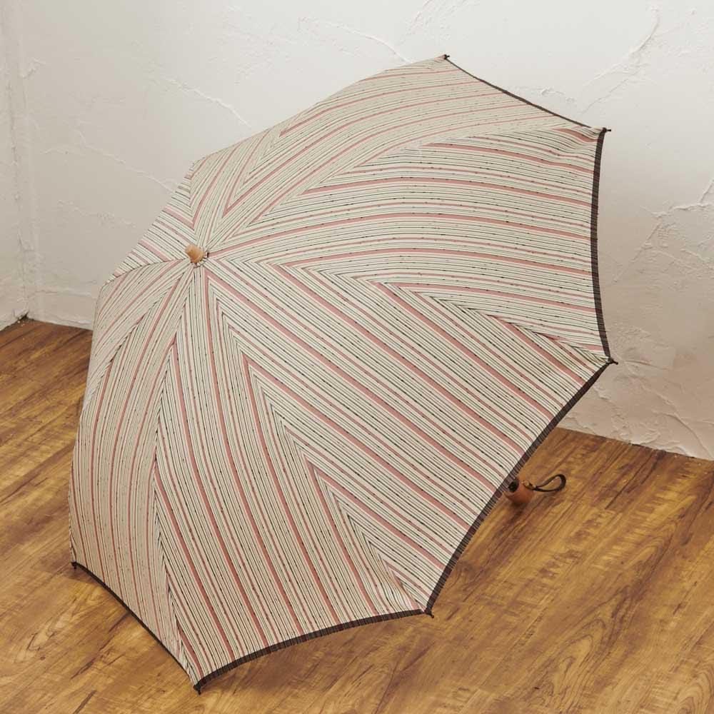 小宮商店 甲州織晴雨兼用折畳日傘 ストライプ (ア)レッド