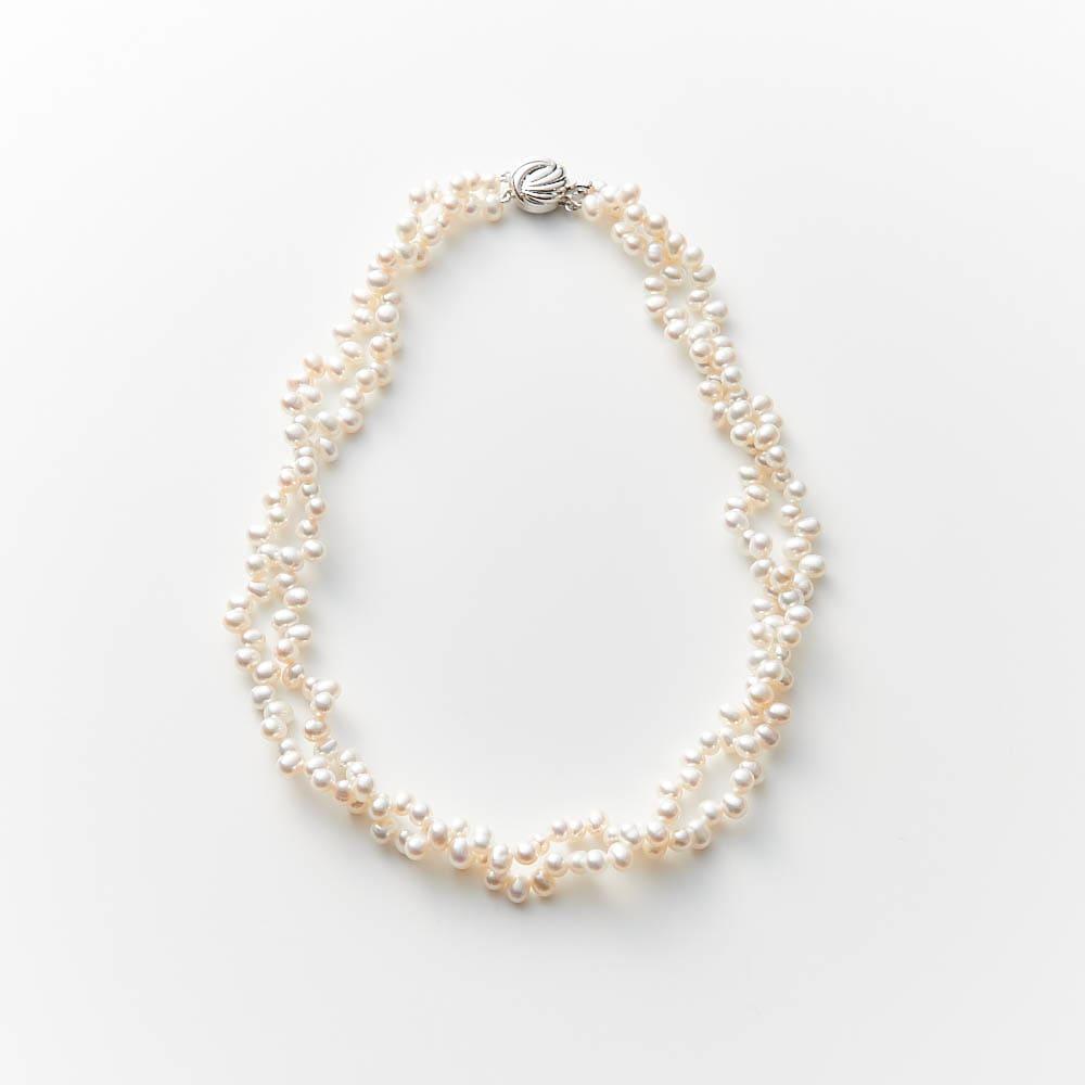 淡水パール編み込ネックレス レディース 真珠・パール
