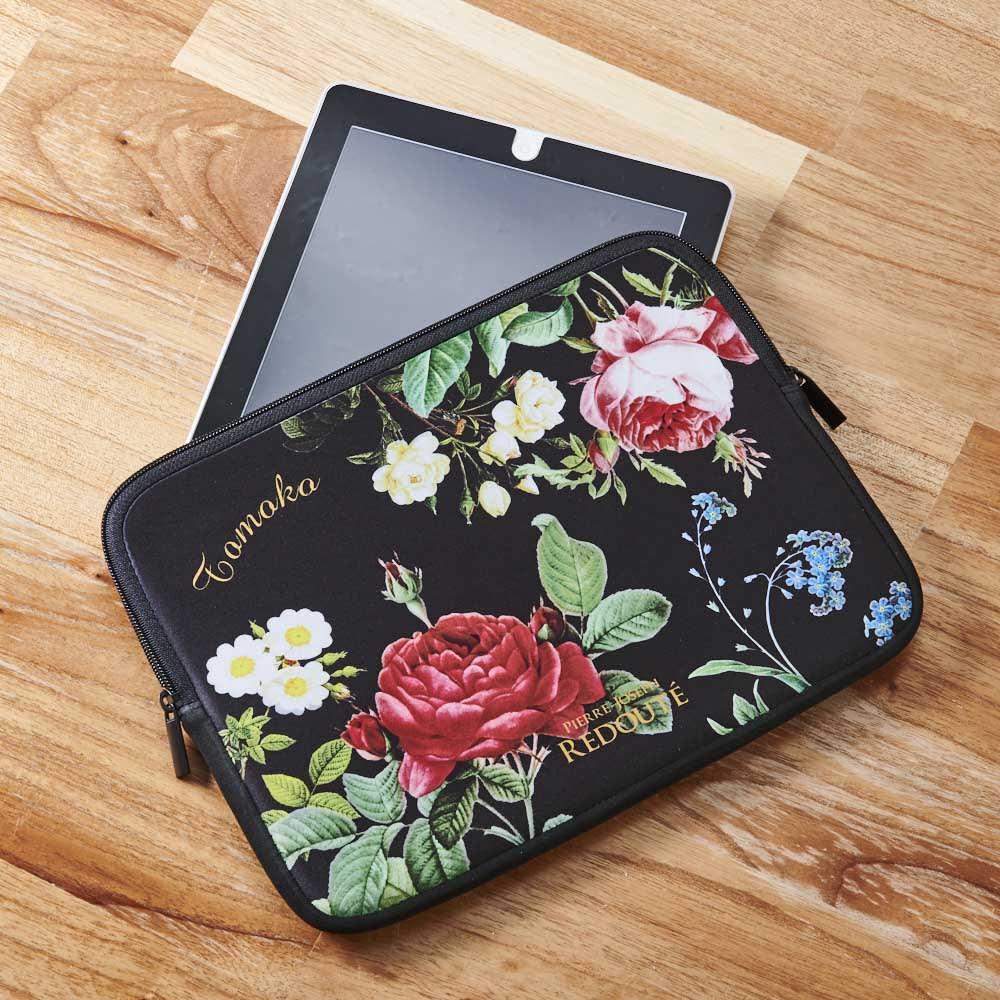 ディアカーズ 名入れタブレットポーチ ルドゥーテ コレクション 名入れができる!ルドゥーテの薔薇が華やかなモバイルツールポーチ 写真のタブレットは「iPad」