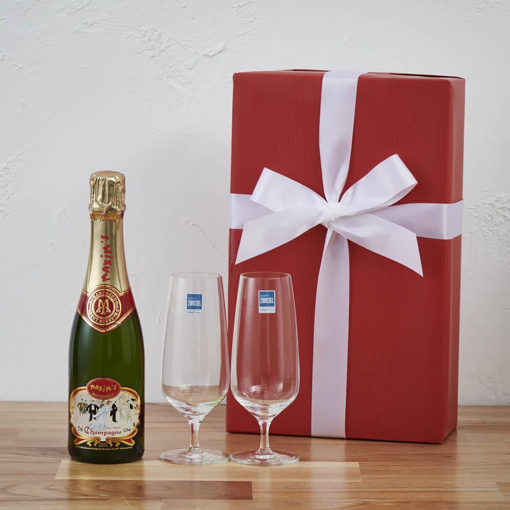シャンパングラス付き   「マキシム・ド・パリ」 シャンパン ハーフボトル ギフトセット ワイン