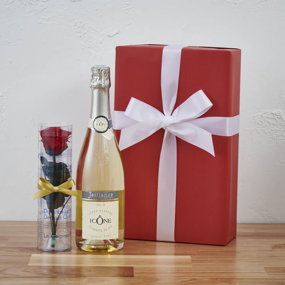 プリザーブドフラワー赤バラ1本付きフランス スパークリングワイン  ギフトセット