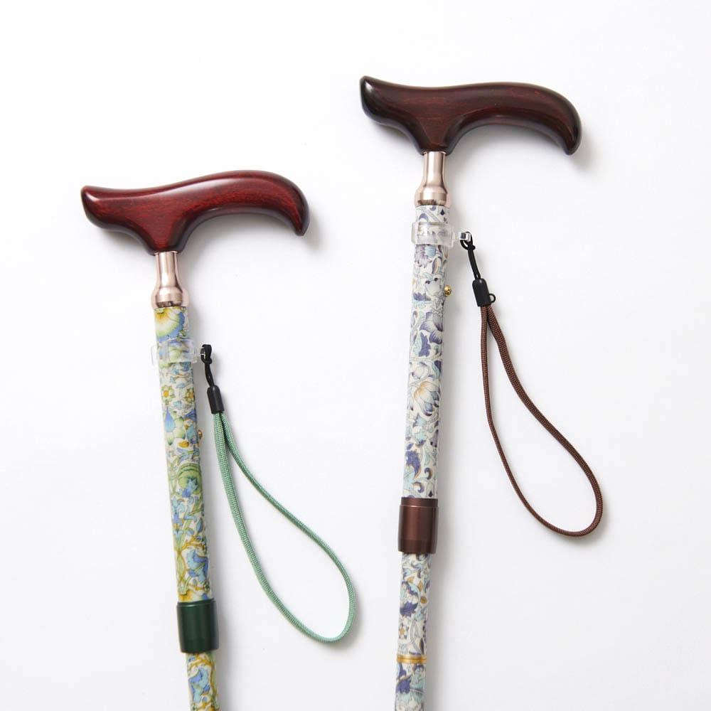 ウィリアム・モリス 日本製 握りやすい簡単折りたたみステッキ 左から(ア)グリーン系 (イ)ブラウン系 美しいウィリアムモリスのロデン柄。
