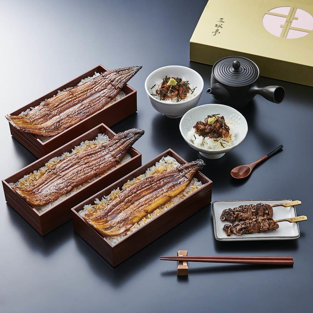 【父の日ギフト】三水亭 特選うなぎ蒲焼セット(ギフトボックス入り) 【盛付例】ふんわりやわらかな三河産のうなぎを色々な食べ方でお楽しみいただけます。